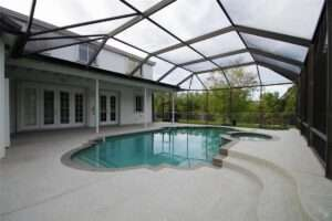 Screened in pool with french doors