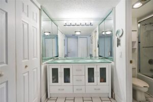 Glamorous light and bright remodeled bathroom