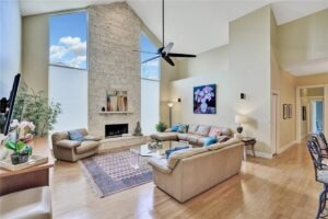 Family Room Features 22-Foot Voluminous Ceilings