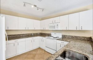 Kitchen accented with granite counter top